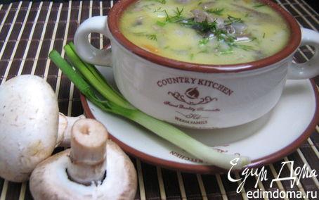 Рецепт Сырный суп с шампиньонами