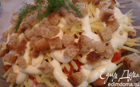 Рецепт – Салат с крабовым мясом.