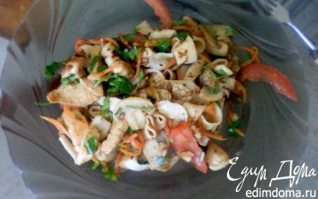 Рецепт Тёплый салат с блинами, грибами и курицей.