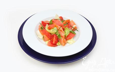 Рецепт Салат листовой, с огурцом и укропом с рыбой холодного копчения и дольками грейпфрута