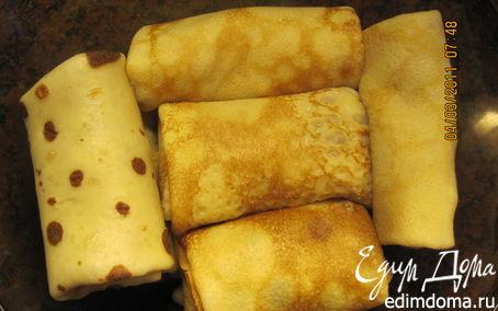 Рецепт Блинчики с творожно-банановой начинкой.