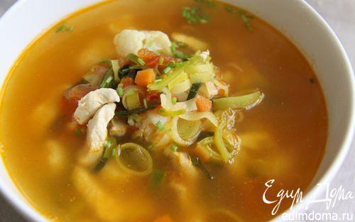Рецепт Куриный суп с цветной капустой и томатами! и Всего 224 ккал. в 1 порции:-)