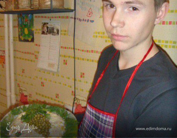 Салат из крабовых палочек с кукурузой и яблоком