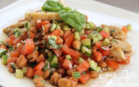 Рецепт Салат с фасолью и тёплой курицей! И всего 293 ккал. в 1 порции :-)