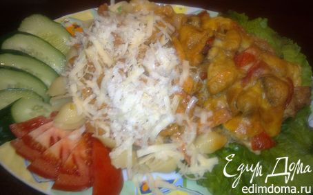 Рецепт Плотный и сытный ужин для моих мужчин (Паста под соусом с овощами и ветчиной,Куриное мясо с гриба...