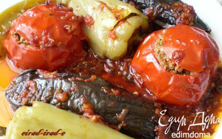 Рецепт Бадымджан,бибяр,помидор долмасы