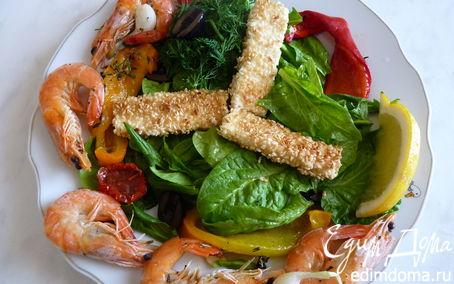 Рецепт Салат с запечённым перцем, сыром фета и креветками