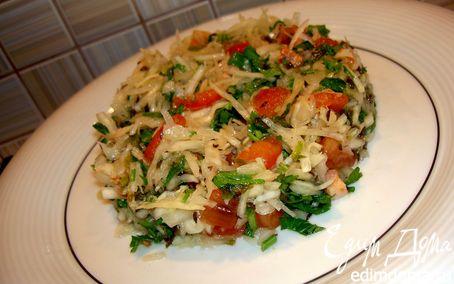 Рецепт Салат из белокочанной капусты с салом