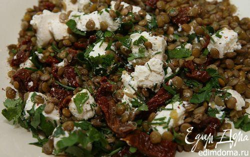 Рецепт Пикантная чечевица с брынзой и вялеными помидорами