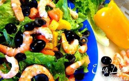 Рецепт Салат из морепродуктов, зелени и овощей