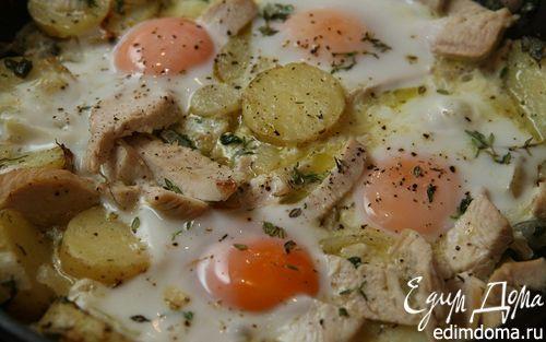 Рецепт Яичница с индейкой, картофелем и травами