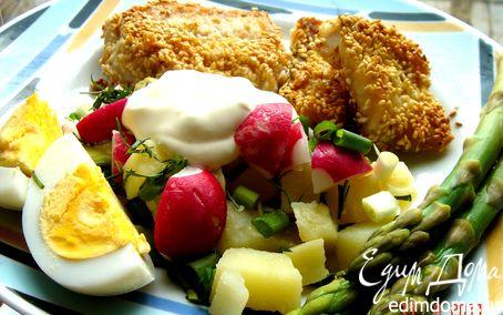 Рецепт Палтус в кунжутной панировке с картофельным салатом