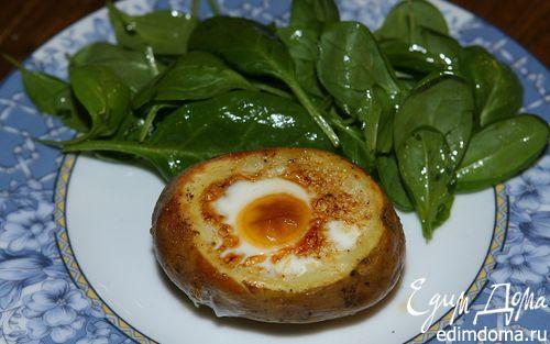 Рецепт Яйца, запеченные в картошке, с гарниром из шпината