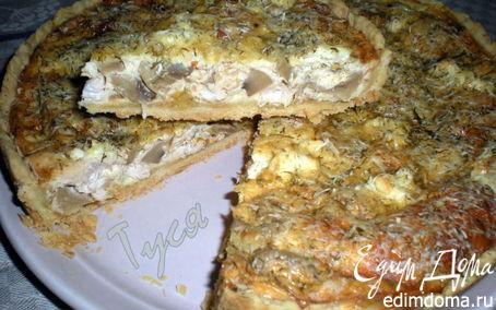 Рецепт Открытый пирог с курицей и грибами