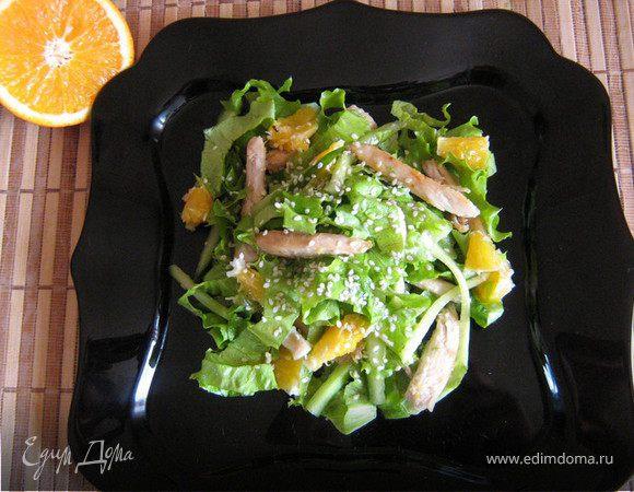 Салат с куриной грудкой и апельсинами