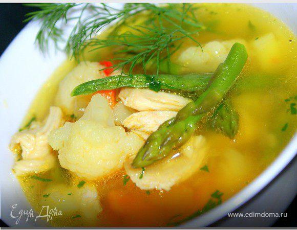 Овощной суп с курочкой