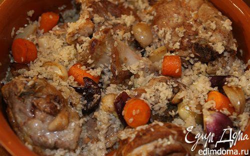 Рецепт Томленая баранина с луком, чесноком и рисом
