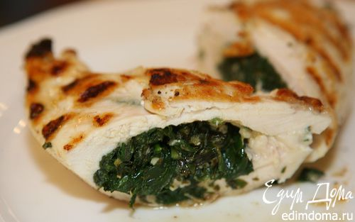 Рецепт Куриные грудки, фаршированные шпинатом