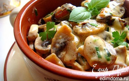 Рецепт шампиньоны с мидиями в сметанно-сырном соусе (по мотивам жульена)