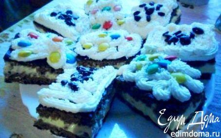 Рецепт Бисквитные пирожные с творожной начинкой сметанным кремом