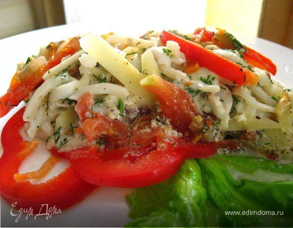 Сочные кальмары запеченые с сыром и овощами