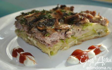 Рецепт Кабачковая запеканка с мясом и грибами