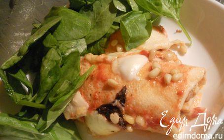 Рецепт Каннелони из блинчиков с баклажанами, мясом и тремя видами сыра