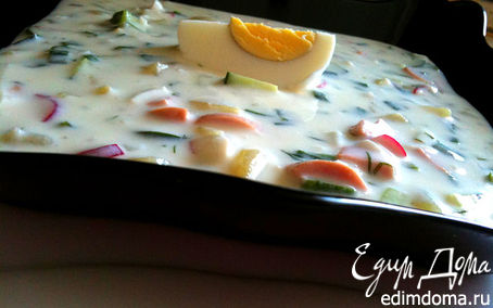 Рецепт Летняя кефирная окрошка для крошки!