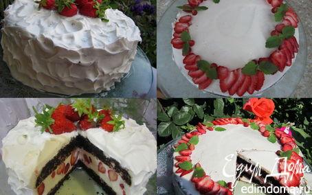 """Рецепт Два торта """"Клубника под облаками"""" и """"Клубника в сметане"""""""