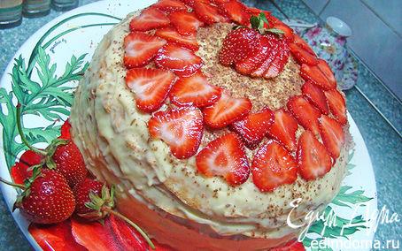 Рецепт Блинный, вкусный, весенний тортик с нежным заварным кремом :)