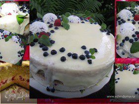 """Торт """"Летний"""" с творожно-малиновым суфле."""