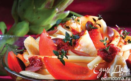Рецепт Макароны с артишоками, оливками и запеченными томатами