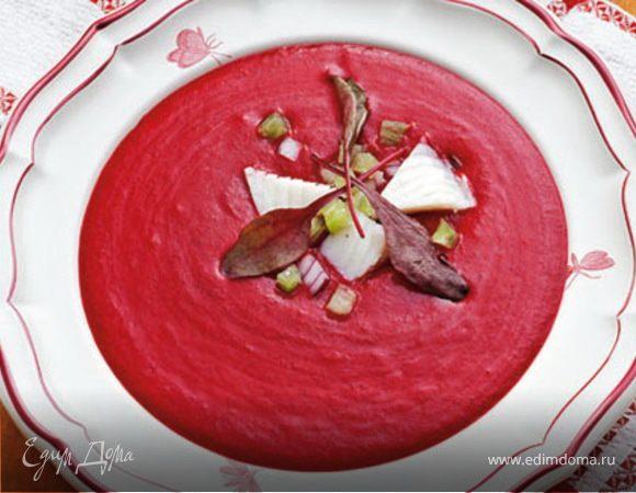Холодный суп с тилапией и свекольной ботвой