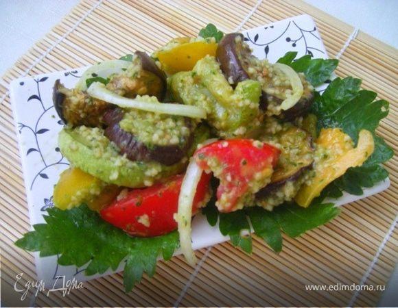 Теплый летний салат с печеными баклажанами и кускусом