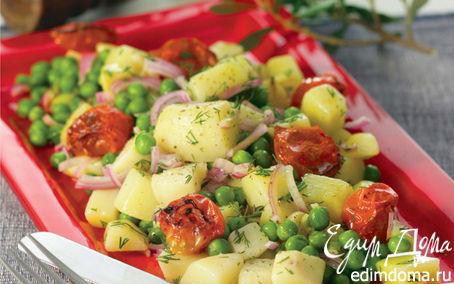 Рецепт Теплая картофельная закуска с зеленым горошком, жареными томатами и укропом