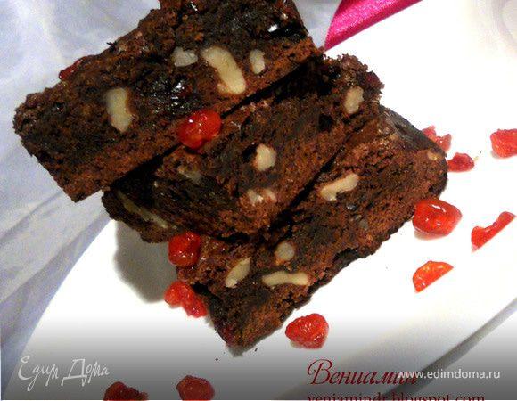 Брауни с клюквой и грецкими орехами