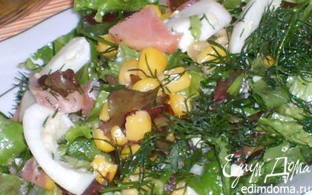 Рецепт Салатный микс с семгой и яйцом