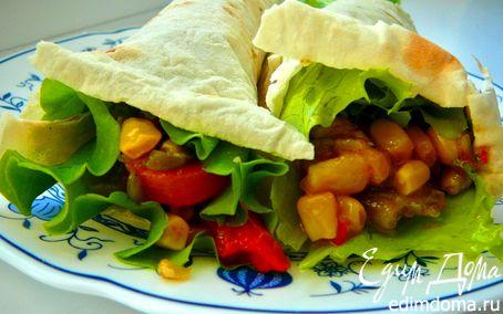 Рецепт Почти мексиканская закуска(теплый овощной салат в лаваше)