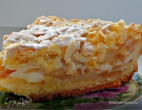 Польский пирог (яблочный пирог с миндальной стружкой)