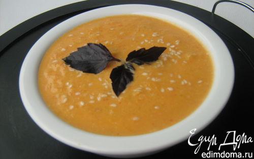 Рецепт Суп из запечённой тыквы с грушами, сладким перцем и имбирём