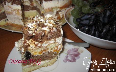 Рецепт Двухцветный бисквитный торт..