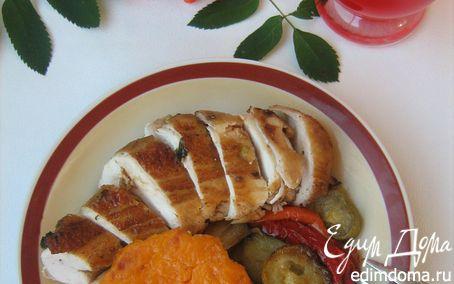 """Рецепт Запечённая курица с травами, тыквенным крем-брюле и овощами """"Осенняя рапсодия"""""""