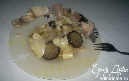 Рецепт Отварная сайра и сом, овощи прованс и спагетти