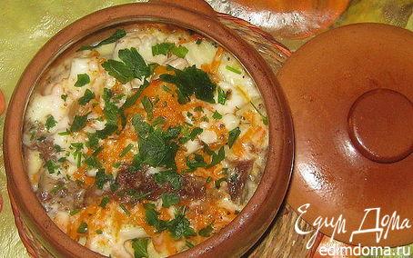 Рецепт Картофель с мясом запеченный в горшочке