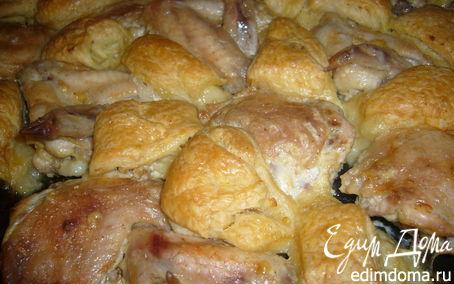 Рецепт Куриные крылышки запеченные с луковыми рулетами