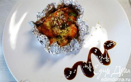 Рецепт Рис, запеченный с креветками под соусом терияки