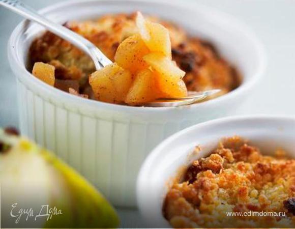 Яблочный десерт «Скандия» с овсяными хлопьями Nordic с овсяными отрубями