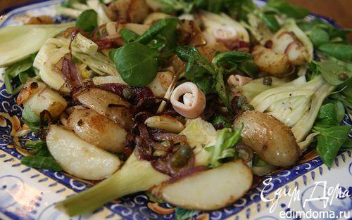 Рецепт Салат с фенхелем, картошкой и кальмарами