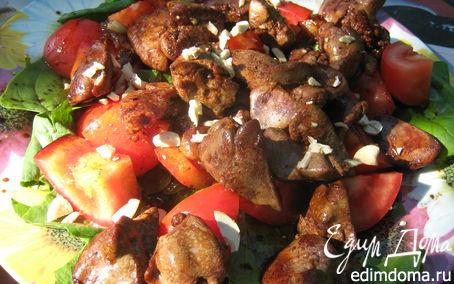 Рецепт Теплый салат с куриной печенью и беконом