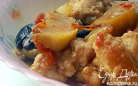 Рецепт Суп-рагу с курицей, черносливом и яблоками